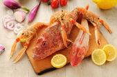 Snapper, gurnard and prawns — Stock Photo