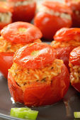 Tomatoes stuffed with rice — Stock Photo