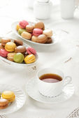 Macarons during a snack — Stock Photo
