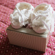 Hand-made baby booties — Stock Photo #54165777