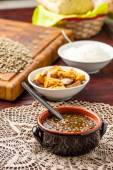Lentil soup with spoon — Stock Photo