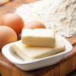 Eggs, butter and flour — Stock Photo #56408783