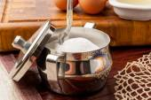 Metal sugar bowl — Stock Photo