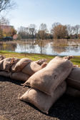 Sandbags for flood defense — Stock Photo