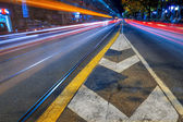 Road markings in night city — Stock Photo