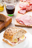 Tasty sandwich with ham — Stock Photo