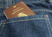 Thailand Passport in denim jeans pocket — Stock Photo