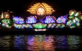 Light show of a boat in Loy Krathong Festival — Stock Photo
