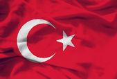 Wavingl Turkish flag — Stock Photo