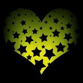Stars on a yellow heart — Stock Photo