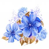 Blue watercolor flowers — Stock Photo