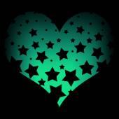 Stars on a green heart — Stock fotografie