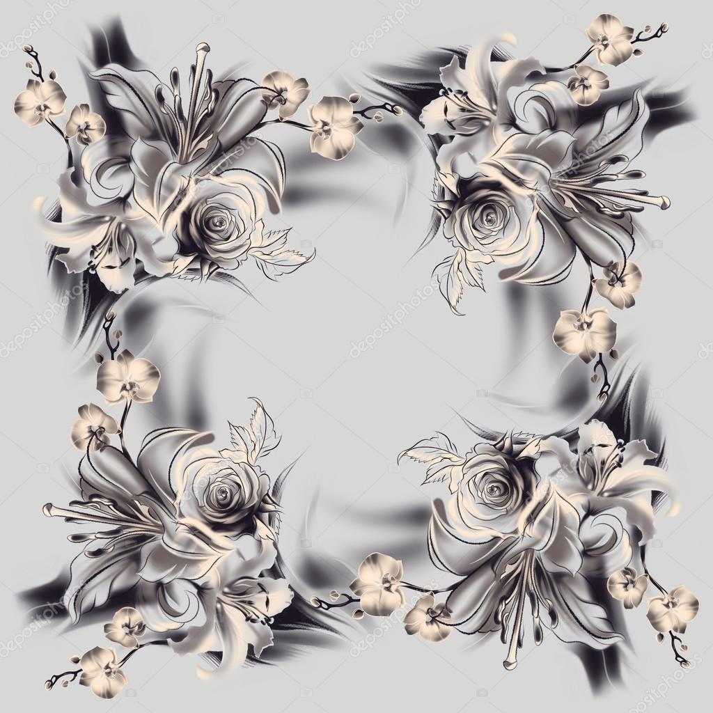 Flores, dibujo con lápiz simple y carbón. Rosas, lirios y orquídeas. Estilo vintage. Las líneas lisas delgadas. Plantilla para tarjeta de felicitación.