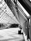 Indoor glass bridge for pedestrians — Stock Photo