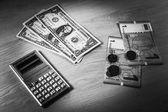 Calculator, US dollars and Azerbaijani manats — Stock Photo