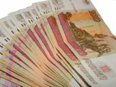 Los billetes de cien rublos rusos mentira — Foto de Stock