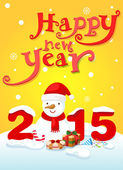 Happy new year typography and snowman landscape background vecto — Vetorial Stock