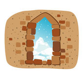 Stone wall with window vector — Stock Vector