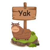 Animal alphabet letter Y for yak — Stok Vektör