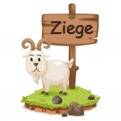 Animal alphabet letter z for ziege — Stock Vector