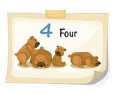 Number four bear vector — Stock Vector