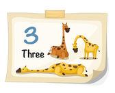 Żyrafa numer trzy wektor — Wektor stockowy