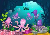 Number six octopus under the sea vector — Stock Vector