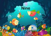 Number nine fish under the sea vector — Stock Vector
