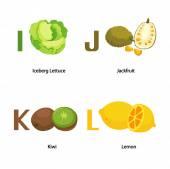 Alphabet I-L letter.iceberg lettuce,jack fruit,kiwi,lemon.vector — Stock Vector