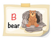 Abecedario de animales letra b vector de ilustración de oso — Vector de stock