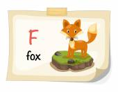Animal alphabet letter F for fox illustration vector — Stock Vector