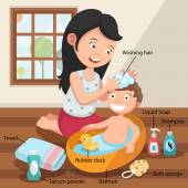 Mother washing her child 's hair with love illustration, vector  — Stock Vector