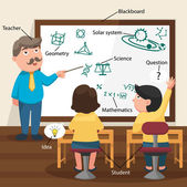 The Teacher Teaching His Students in the Classroom — Stock Vector