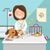 The idea of female veterinarian curing illustration — Vettoriale Stock