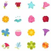 Flower icon set vector — Stockvektor