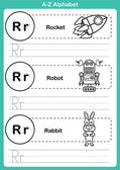 Alphabet a-z exercise with cartoon vocabulary for coloring book  — Stockvektor