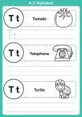 塗り絵の漫画語彙とアルファベット a ~ z 運動 — ストックベクタ