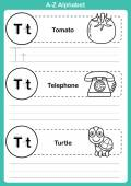 Alphabet a-z exercise with cartoon vocabulary for coloring book  — Stock Vector