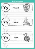 Alphabet a-z exercise with cartoon vocabulary for coloring book  — ストックベクタ