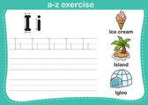Alphabet a-z exercise with cartoon vocabulary illustration — Stock Vector