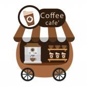 Kar kraam en koffie vector — Stockvector