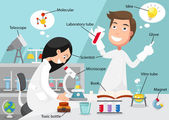 Scientists doing experiment surrounded by lab equipment with rel — Stock Vector