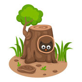Tree hollow with an owl on a white background,vector — Stock Vector