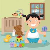 Baby playing in a room — Stock Vector