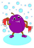 Plum wiped off with a towel — Stock Photo
