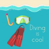 Retro flat diving tools icon — Stock Vector