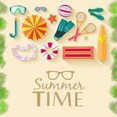 Tiempo de vacaciones de verano — Vector de stock