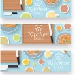 Kitchen table for cooking banners — Stock Vector #57673311