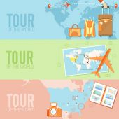 Tour of the world pattern — Stock Vector