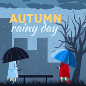 Girl and boy with umbrella in a autumn rainy day — Stock Vector